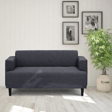 Furinno Simply Home Modern Fabric Sofa, Dark Grey