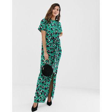 Liquorish thigh split maxi dress in green leopard