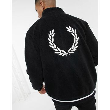 Fred Perry back logo shearling jacket in black