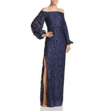 Aidan Mattox Womens Satin Off-The-Shoulder Evening Dress