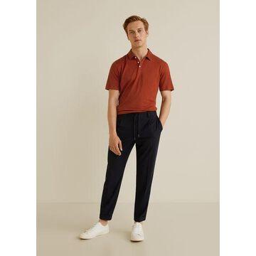 MANGO MAN - 100% linen polo shirt russet - S - Men