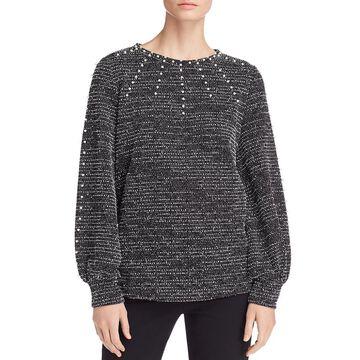 Karl Lagerfeld Paris Womens Tweed Embellished Pullover Top