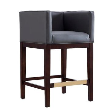 Manhattan Comfort Kingsley Grey and Dark Walnut Counter height (22-in to 26-in) Upholstered Bar Stool Leather in Gray | CS005-GY