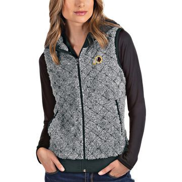 Women's Antigua Heathered Gray Washington Redskins Fame Hooded Full-Zip Vest