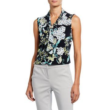 Sleeveless Floral-Print Top w/ Pearly Cluster