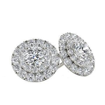 De Couer IGI Certified 10k White Gold 1/2ct TDW Diamond Halo Stud Earring (White - White)