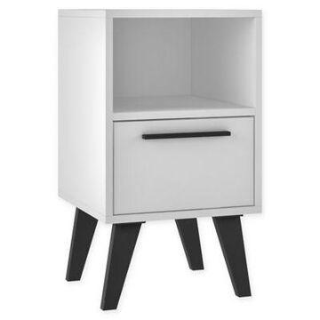 Manhattan Comfort Amsterdam 1-Drawer Nightstand in White
