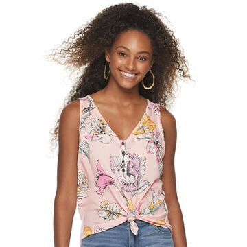 Juniors' Candie's Mixed Media Button Up Tank Top