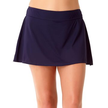 Anne Cole Women's Bikini Bottoms NAVY - Navy Skirted Bikini Bottoms - Plus