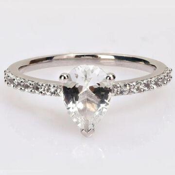 Miadora 2 1/8ct TGW Pear-cut Created White Sapphire Teardrop Engagement Ring in 10k White Gold