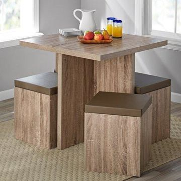 Mainstays 5 Piece Dexter Dining Set with Storage Ottoman, Multiple Colors