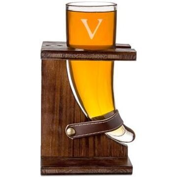 Cathy's Concepts Personalized Glass Viking Beer Horn And Stand