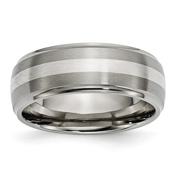 Chisel Titanium Ridged Edge Sterling Silver Inlay 8mm Brushed and Polished Band (9)