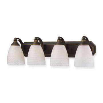 Elk Lighting 4-Light Vanity Strip With White Swirl Glass Shades In Aged Bronze