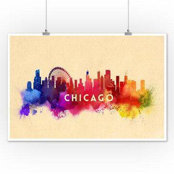 Chicago, Illinois - Skyline Abstract - Lantern Press Artwork (12x18 Art Print, Wall Decor Travel Poster)
