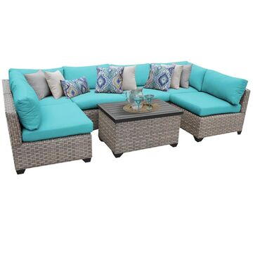 TK Classics Monterey Summer Fog/Beige Resin Wicker/Aluminum 7-piece Outdoor Patio Furniture Set