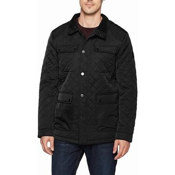 Bernardo Mens Jacket Black Size Large L Full-Zip Snap Button Quilted
