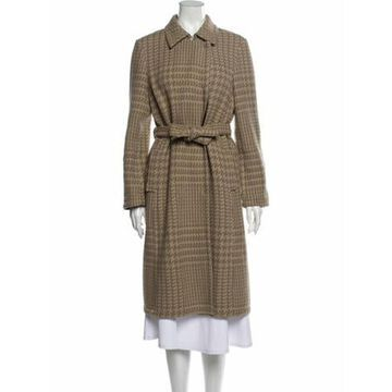 Wool Houndstooth Print Trench Coat Wool