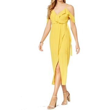 Bardot Womens Yellow Size Small S Cold Shoulder Ruffle Sheath Dress