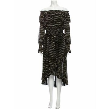Polka Dot Print Midi Length Dress w/ Tags Black