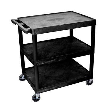 Offex Black Plastic 3-shelf Utility Cart
