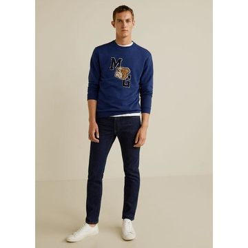 MANGO MAN - Embroidered college plush sweatshirt blue - S - Men