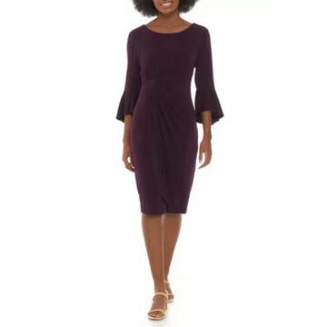 Connected Apparel Women's Solid Bell Sleeve Side Ruch Dress - -