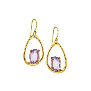 18K Rock Candy Medium Suspension Earrings in Dark Amethyst