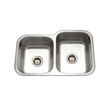HOUZER Elite Undermount 31.5-in x 20.1875-in Lustrous Satin Double Offset Bowl Kitchen Sink Stainless Steel | EC-3208SL-1