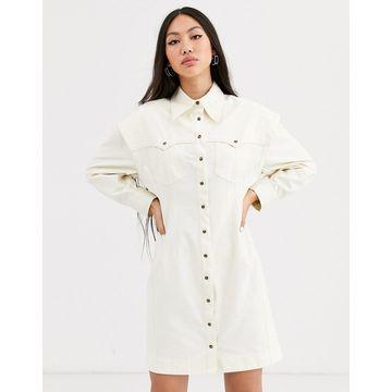 ASOS WHITE twill utility shirt dress-Cream