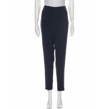 Silk Straight Leg Pants Blue