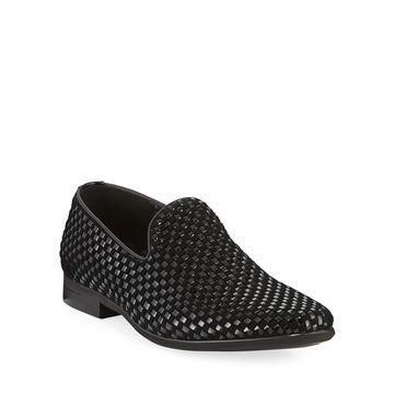 Men's Velvet Woven Leather Loafers