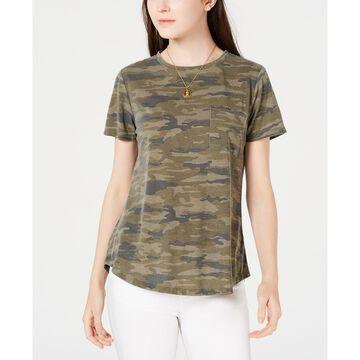 Juniors' Camo-Printed Pocket T-Shirt
