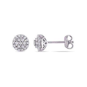 1/4 Carat T.W. Diamond Sterling Silver Halo Stud Earrings
