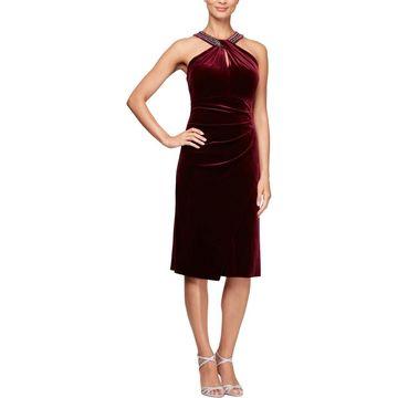 Alex Evenings Womens Velvet Embellished Cocktail Dress
