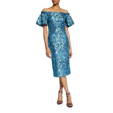 Metallic Tissue Faille Off-Shoulder Flare-Sleeve Cocktail Dress