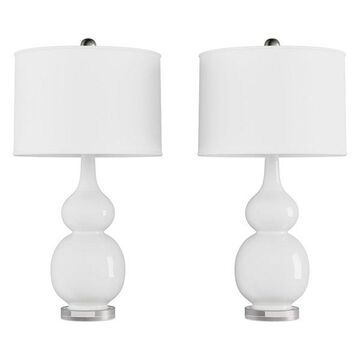 Lavish Home Set of 2 Ceramic Double Gourd Table Lamps, White
