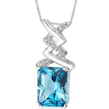Oravo 14k White Gold Swiss Blue Topaz Diamond Pendant Radiant Cut 3.7 carat