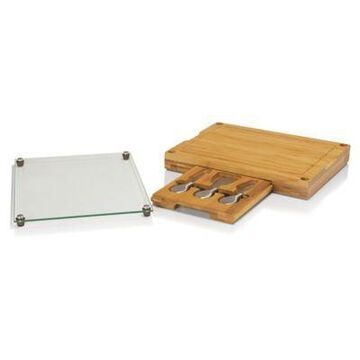Picnic Time Concerto Glass Top Cheese Board & Tools Set Brown