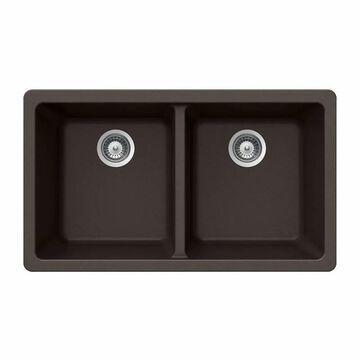 "Houzer M-200U Quartztone 33"" Double Basin Undermount Kitchen Sink with 50/50 Split Mocha Fixture Kitchen Sink Composite"