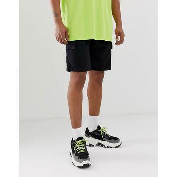Bershka slim cargo shorts with pockets in black