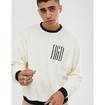 Heart & Dagger teddy sweatshirt in white with logo