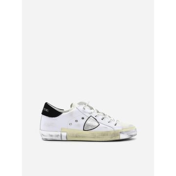 Philippe Model Paris X Sneakers In Leather With Contrasting Heel Tab