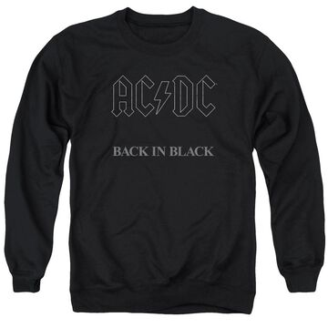 ACDC102-AS-6 ACDC Back in Black-Adult Crewneck Sweatshirt, Black - 3X