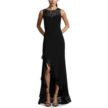 Betsy & Adam Womens Lace Ruffled Formal Dress
