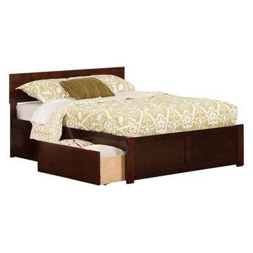 Atlantic Furniture Orlando Urban Full Storage Platform Bed, Walnut