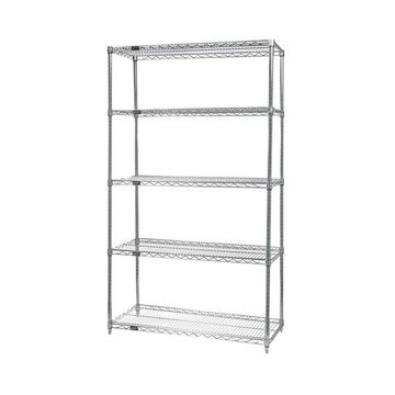 Quantum Storage Systems Wire 5 Shelf Starter Unit in Chrome Finish - 12
