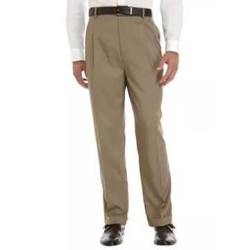 Savane Men's Big & Tall Stretch Crosshatch Pleated Dress Extender Waist Dress Pants - -