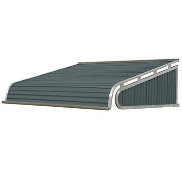 NuImage Awnings 84-in Wide x 42-in Projection Slate Blue Solid Slope Door Fixed Awning