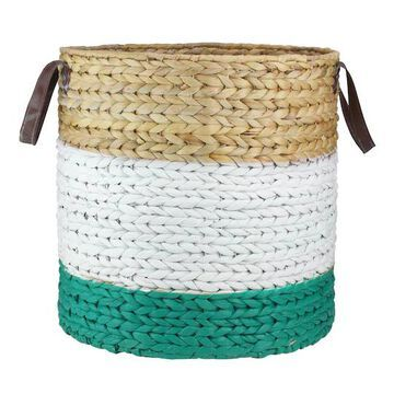 """21"""" Beige, White & Teal Braided Wicker Basket with Handles By Northlight 